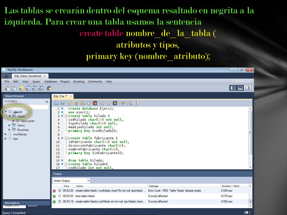 create table nombre_de_la_tabla ( atributos y tipos,