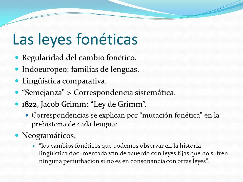 Las leyes fonéticas Regularidad del cambio fonético.