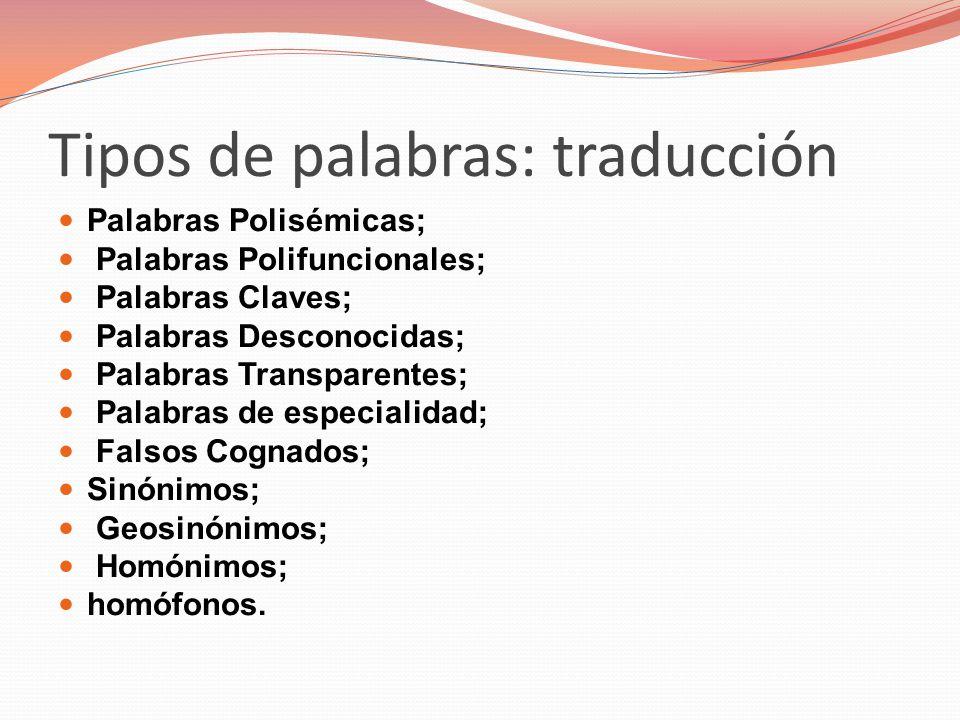 Tipos de palabras: traducción