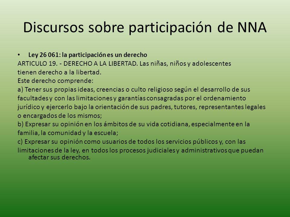 Discursos sobre participación de NNA
