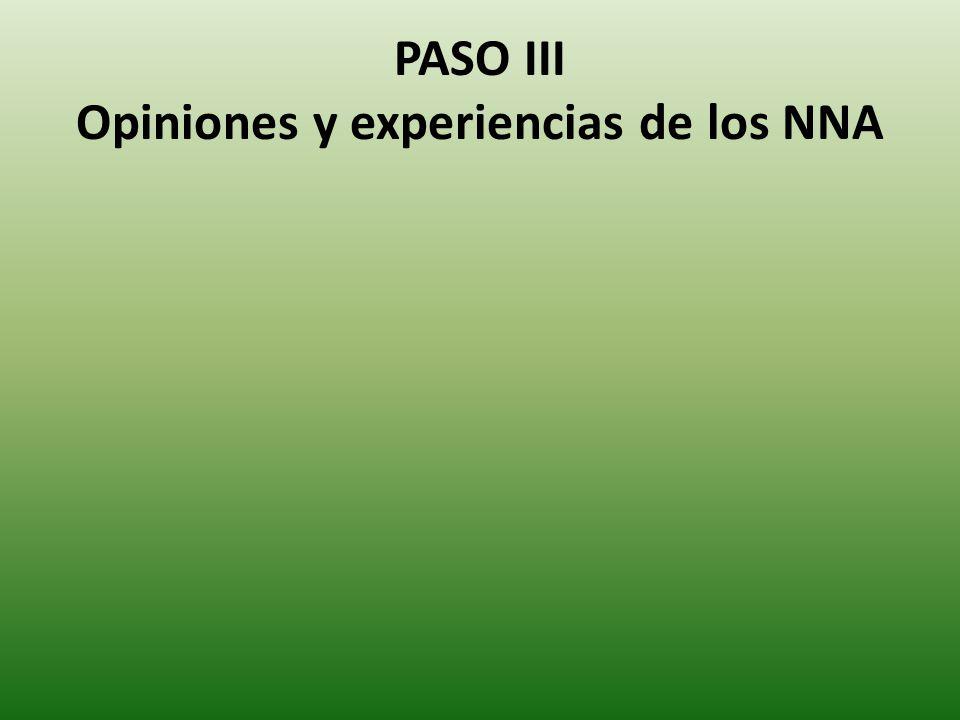 PASO III Opiniones y experiencias de los NNA
