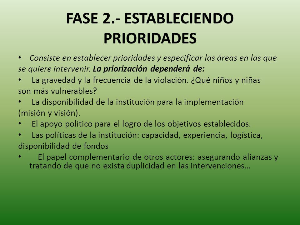FASE 2.- ESTABLECIENDO PRIORIDADES