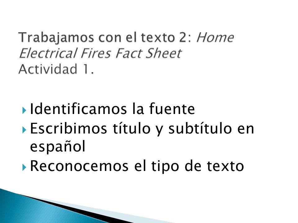 Identificamos la fuente Escribimos título y subtítulo en español