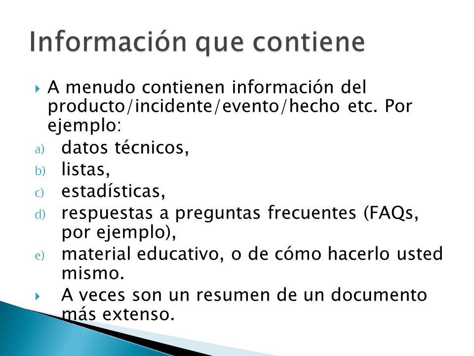Información que contiene