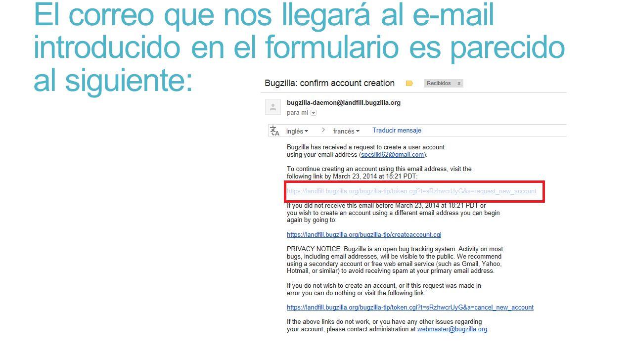 El correo que nos llegará al e-mail introducido en el formulario es parecido al siguiente: