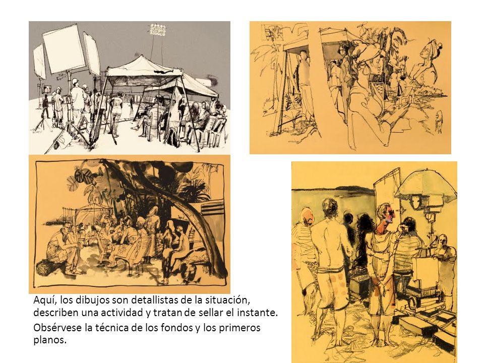 Aquí, los dibujos son detallistas de la situación, describen una actividad y tratan de sellar el instante.