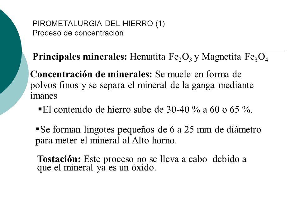 PIROMETALURGIA DEL HIERRO (1) Proceso de concentración