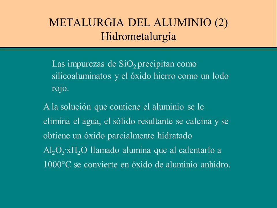 METALURGIA DEL ALUMINIO (2) Hidrometalurgía