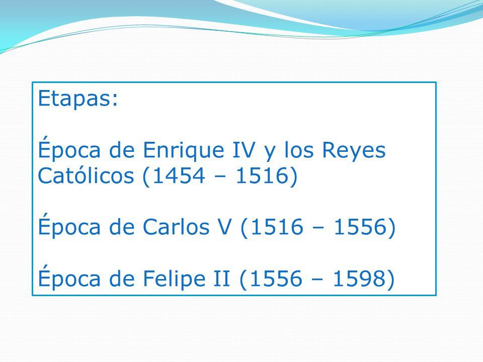Etapas: Época de Enrique IV y los Reyes Católicos (1454 – 1516) Época de Carlos V (1516 – 1556) Época de Felipe II (1556 – 1598)