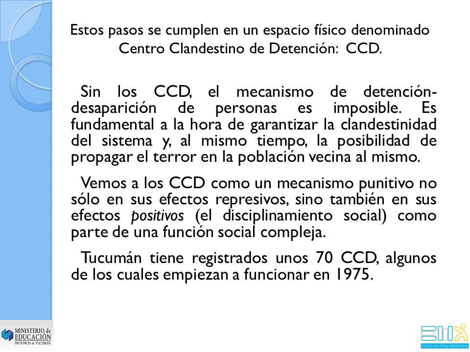 Estos pasos se cumplen en un espacio físico denominado Centro Clandestino de Detención: CCD.