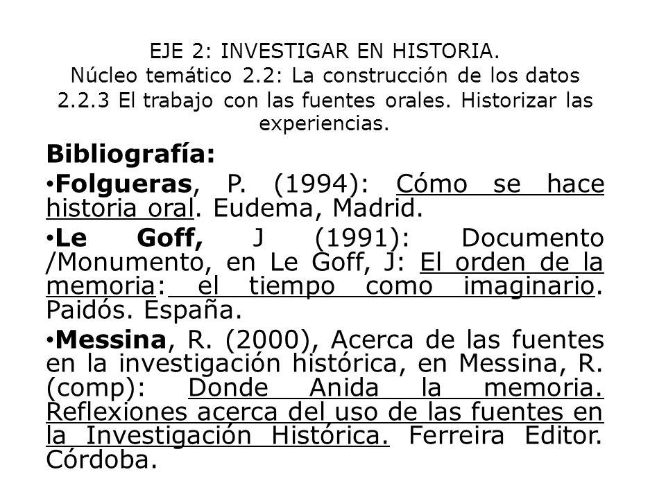 Folgueras, P. (1994): Cómo se hace historia oral. Eudema, Madrid.