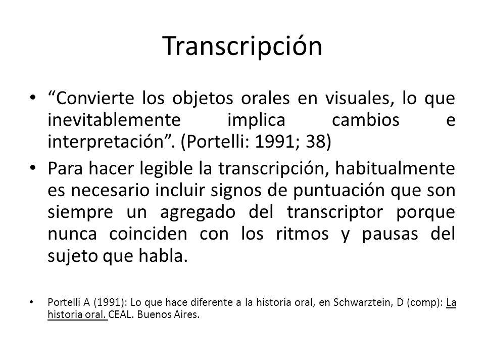 Transcripción Convierte los objetos orales en visuales, lo que inevitablemente implica cambios e interpretación . (Portelli: 1991; 38)