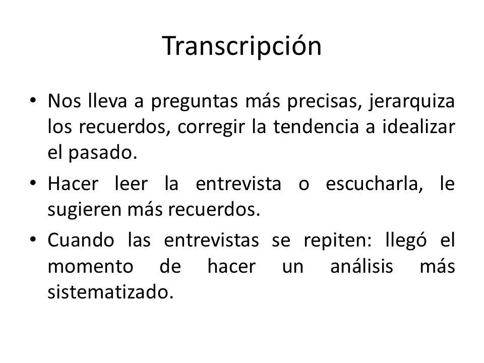 Transcripción Nos lleva a preguntas más precisas, jerarquiza los recuerdos, corregir la tendencia a idealizar el pasado.