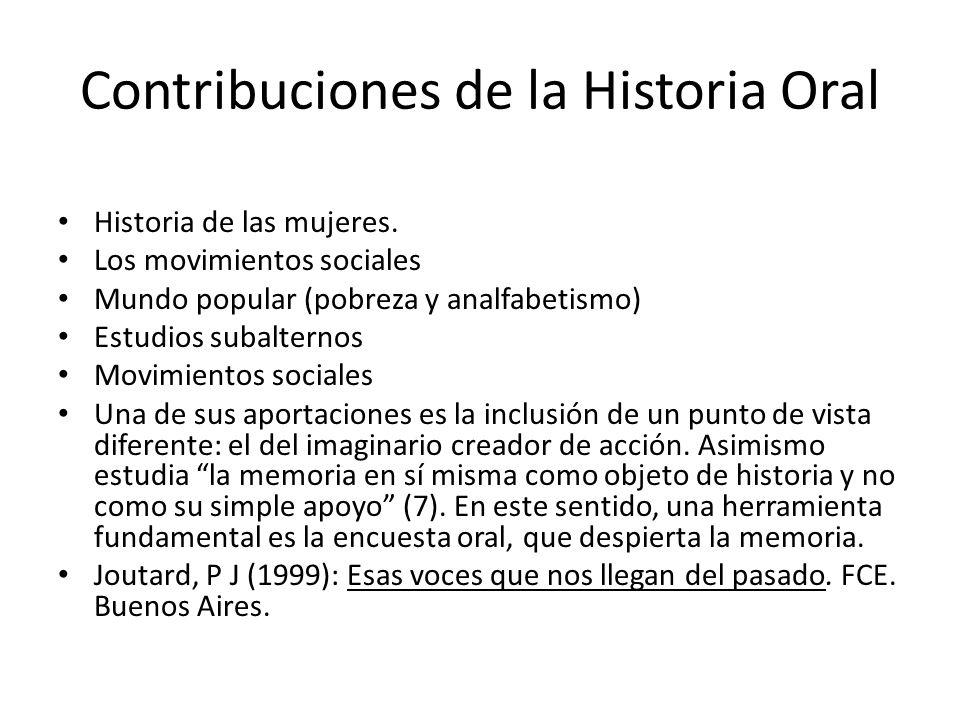 Contribuciones de la Historia Oral