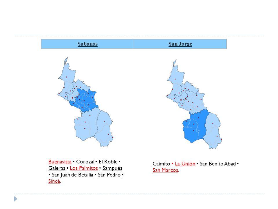 Sabanas San Jorge. Buenavista • Corozal • El Roble • Galeras • Los Palmitos • Sampués • San Juan de Betulia • San Pedro • Sincé.