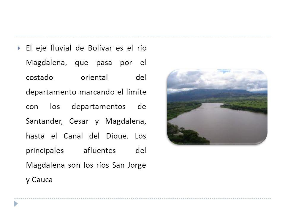 El eje fluvial de Bolívar es el río Magdalena, que pasa por el costado oriental del departamento marcando el límite con los departamentos de Santander, Cesar y Magdalena, hasta el Canal del Dique.