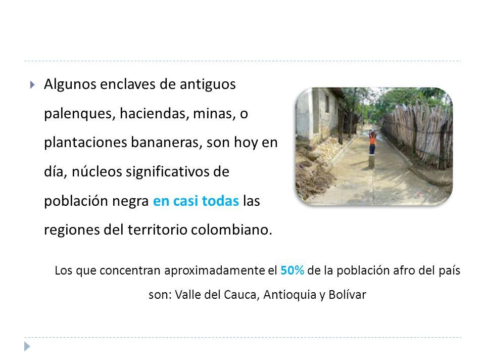 Algunos enclaves de antiguos palenques, haciendas, minas, o plantaciones bananeras, son hoy en día, núcleos significativos de población negra en casi todas las regiones del territorio colombiano.