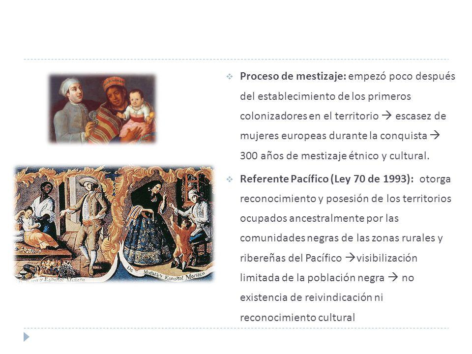 Proceso de mestizaje: empezó poco después del establecimiento de los primeros colonizadores en el territorio  escasez de mujeres europeas durante la conquista  300 años de mestizaje étnico y cultural.