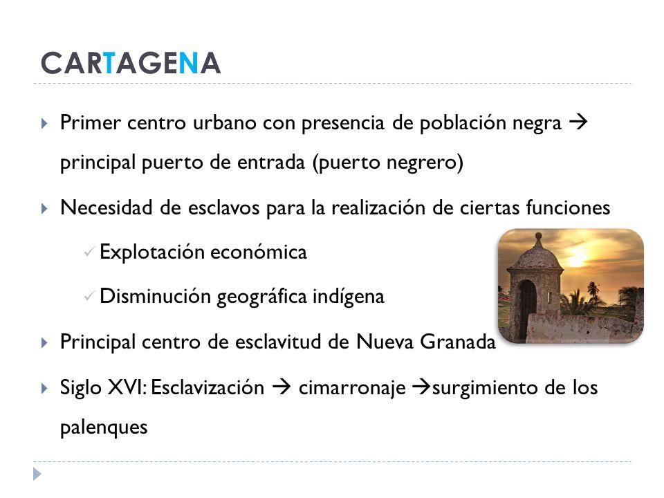 CARTAGENA Primer centro urbano con presencia de población negra  principal puerto de entrada (puerto negrero)