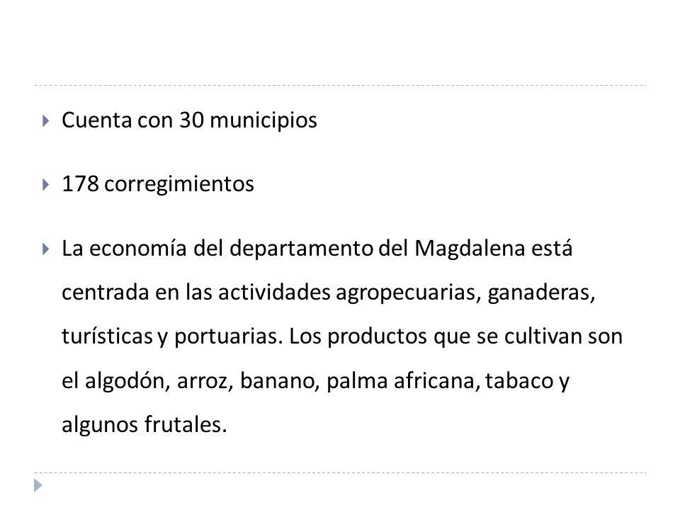 Cuenta con 30 municipios 178 corregimientos.