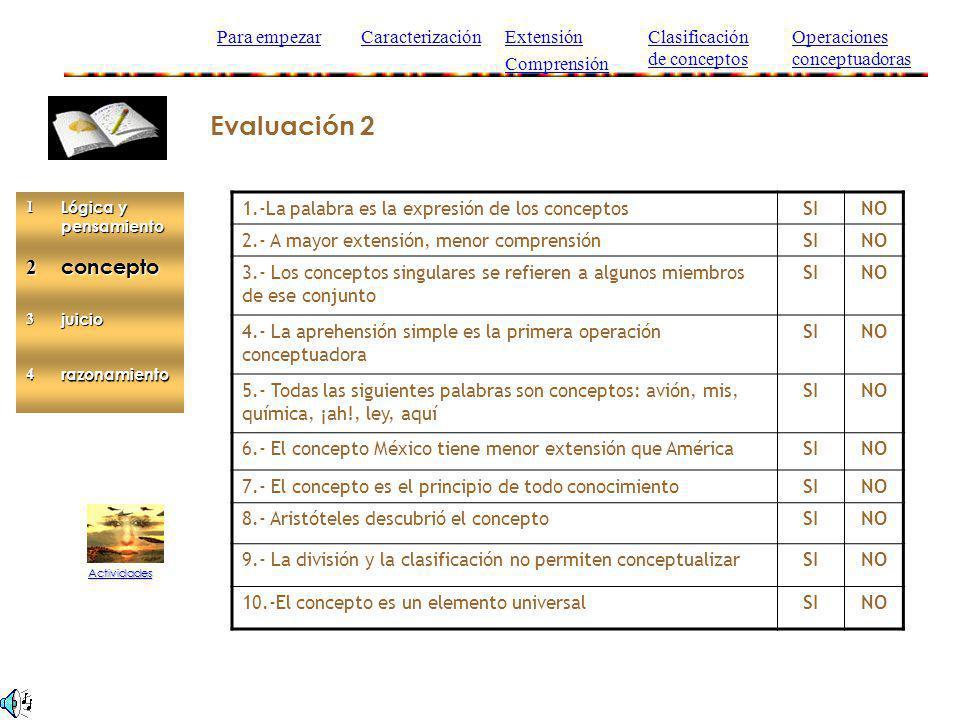Evaluación 2 2 concepto Para empezar Caracterización Extensión