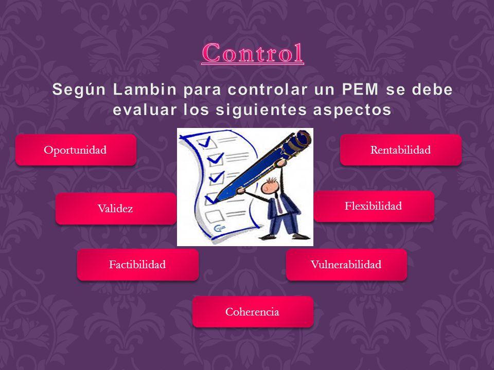 Control Según Lambin para controlar un PEM se debe evaluar los siguientes aspectos. Oportunidad. Rentabilidad.