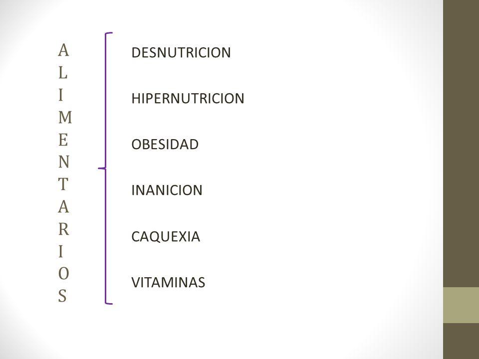 A L I M E N T A R I O S DESNUTRICION HIPERNUTRICION OBESIDAD INANICION CAQUEXIA VITAMINAS