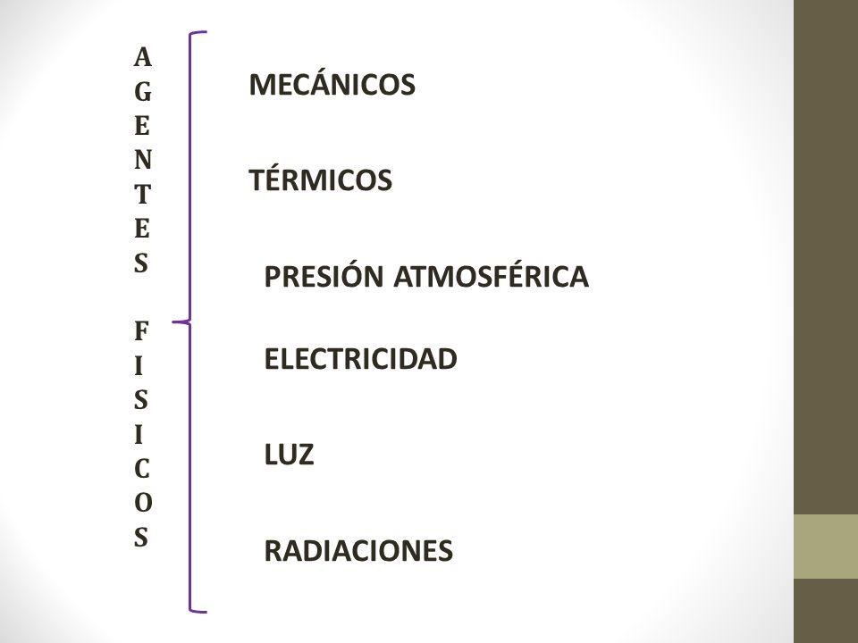 MECÁNICOS TÉRMICOS PRESIÓN ATMOSFÉRICA ELECTRICIDAD LUZ RADIACIONES