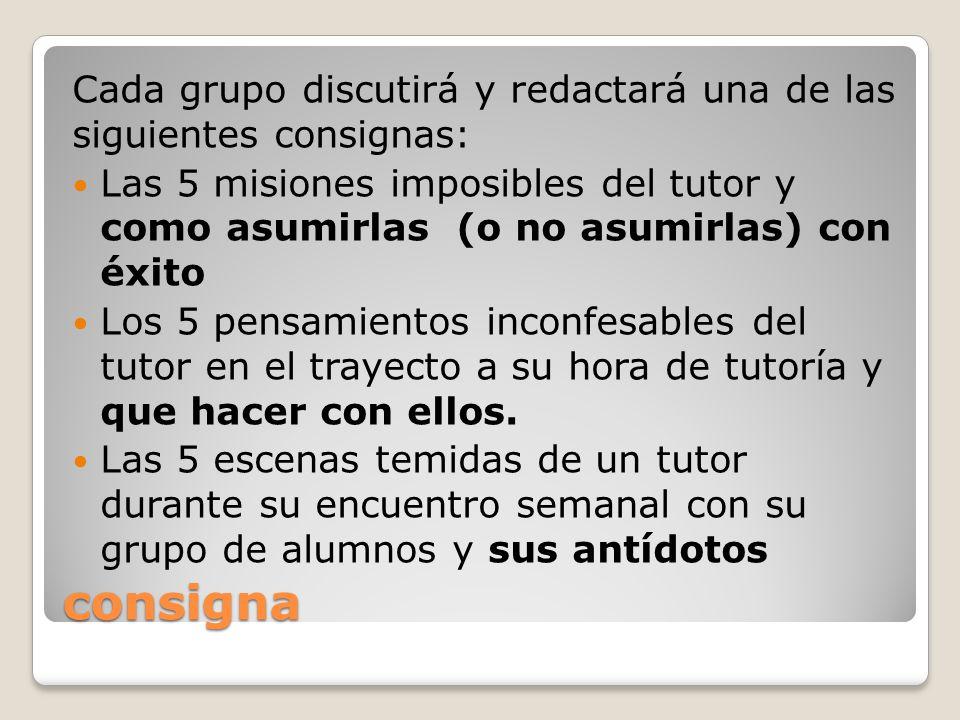 Cada grupo discutirá y redactará una de las siguientes consignas: