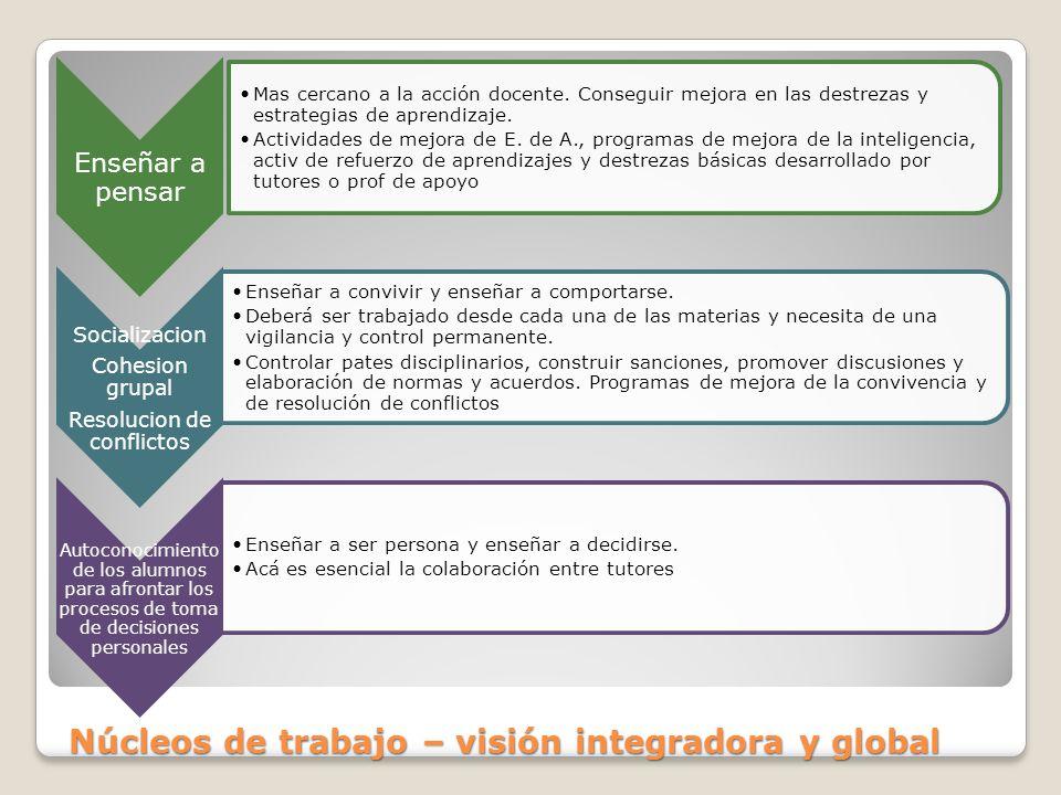 Núcleos de trabajo – visión integradora y global