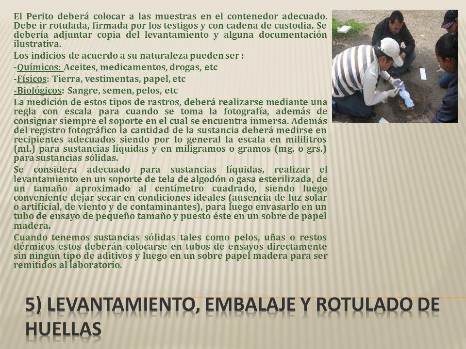 5) Levantamiento, embalaje y rotulado de huellas