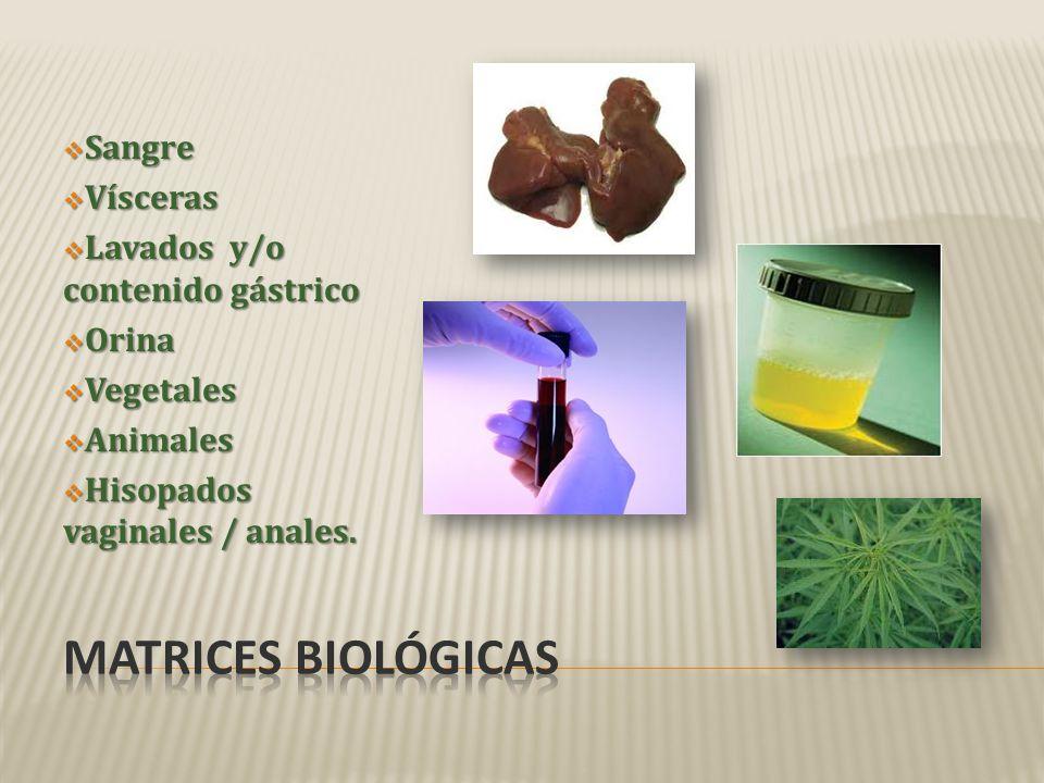 Matrices Biológicas Sangre Vísceras Lavados y/o contenido gástrico
