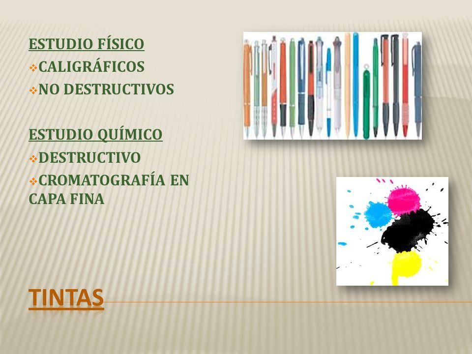 tintas ESTUDIO FÍSICO CALIGRÁFICOS NO DESTRUCTIVOS ESTUDIO QUÍMICO