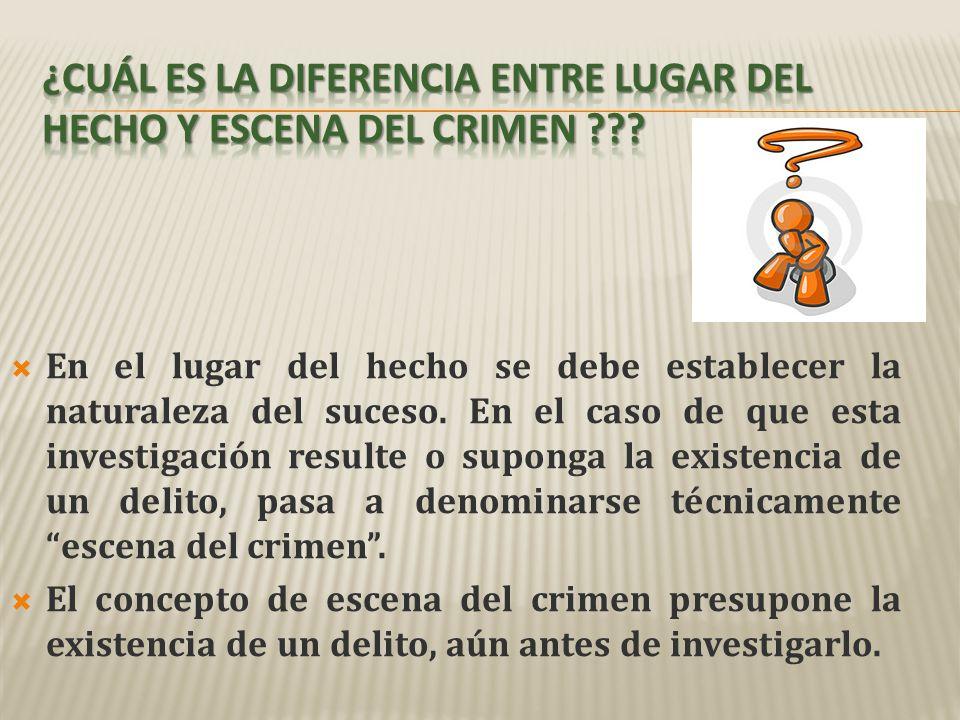 ¿Cuál es la diferencia entre lugar del hecho y escena del crimen