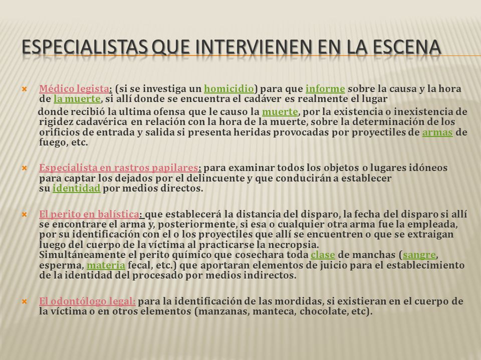 Especialistas que intervienen en la escena