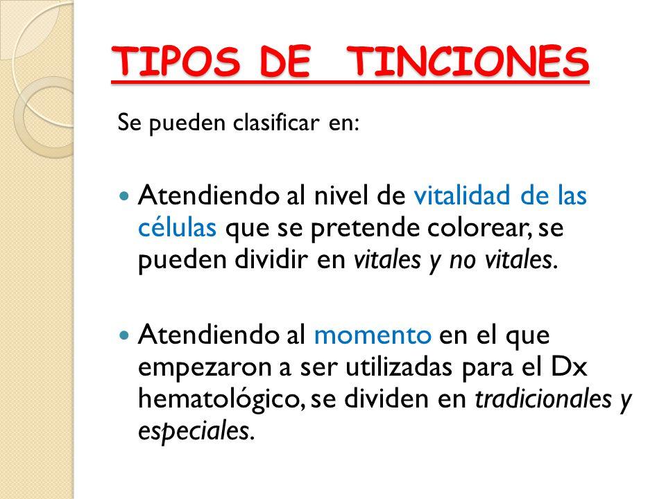 TIPOS DE TINCIONES Se pueden clasificar en: