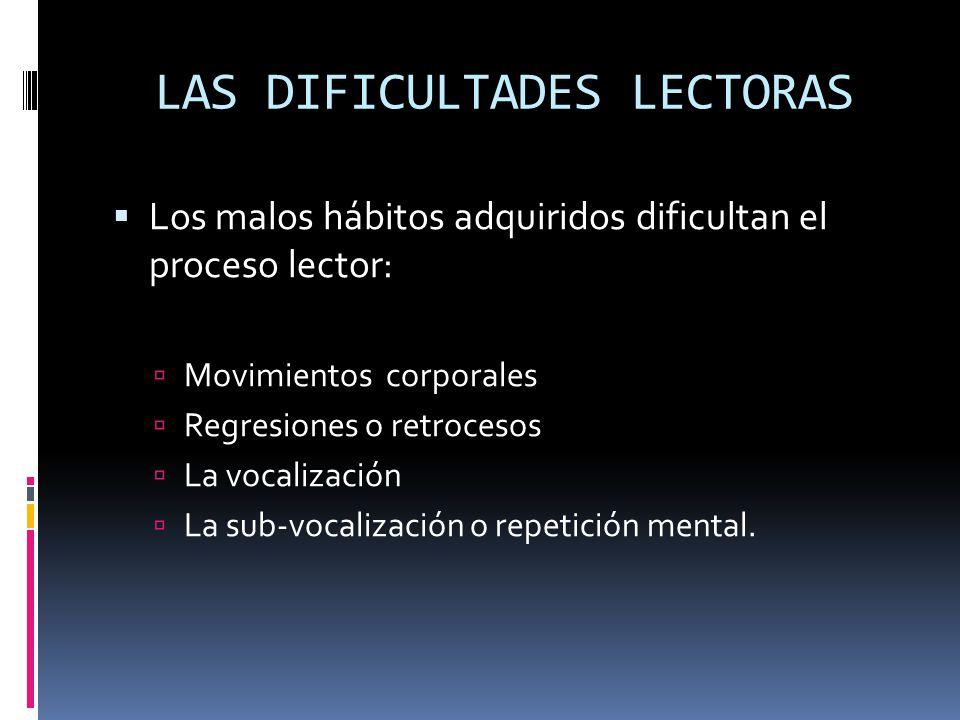 LAS DIFICULTADES LECTORAS