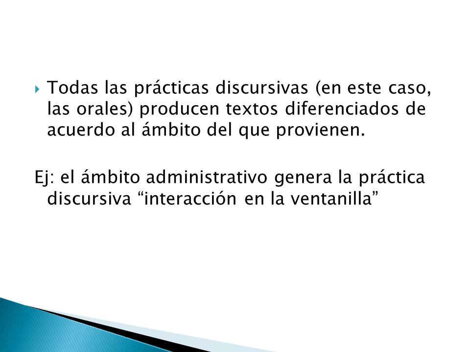 Todas las prácticas discursivas (en este caso, las orales) producen textos diferenciados de acuerdo al ámbito del que provienen.