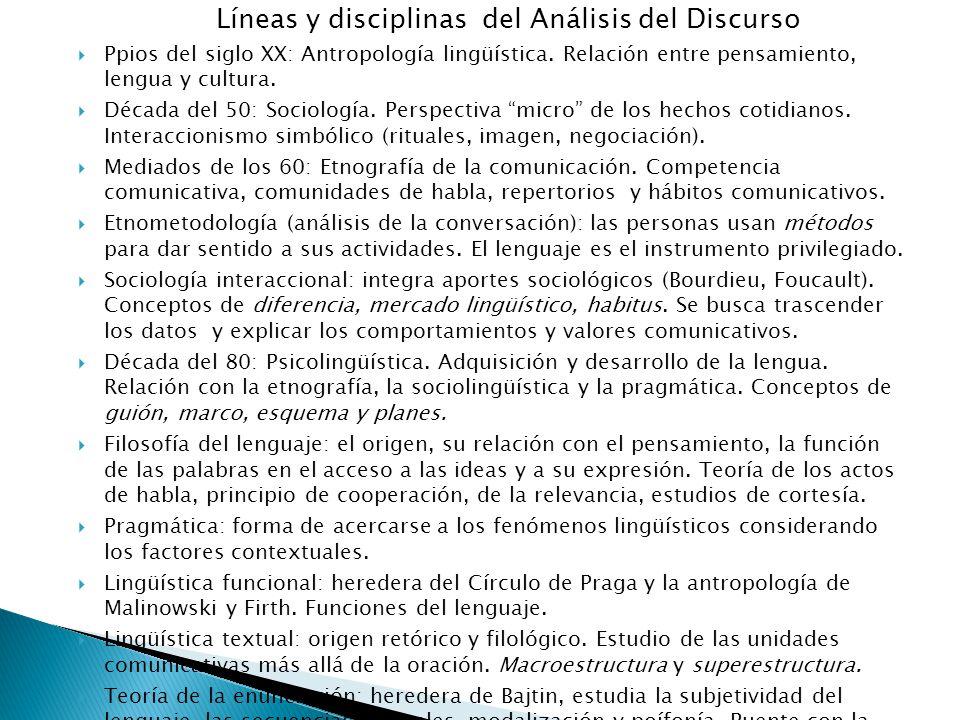 Líneas y disciplinas del Análisis del Discurso