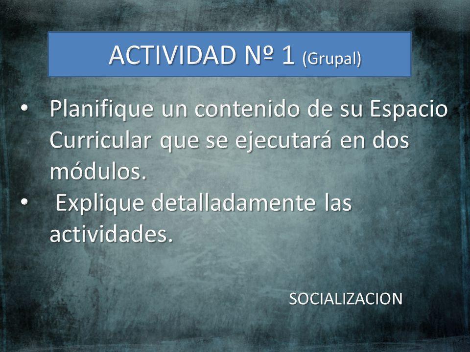 ACTIVIDAD Nº 1 (Grupal) Planifique un contenido de su Espacio Curricular que se ejecutará en dos módulos.