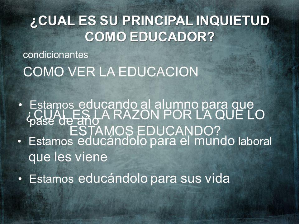 ¿CUAL ES SU PRINCIPAL INQUIETUD COMO EDUCADOR