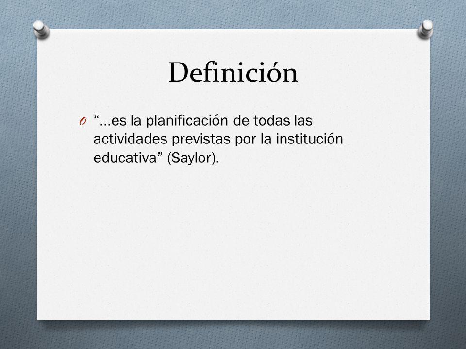 Definición …es la planificación de todas las actividades previstas por la institución educativa (Saylor).