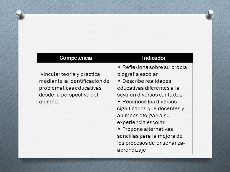 Competencia Indicador. Vincular teoría y práctica mediante la identificación de problemáticas educativas desde la perspectiva del alumno.
