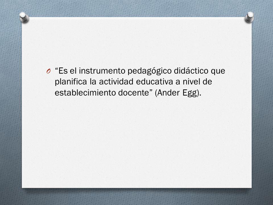 Es el instrumento pedagógico didáctico que planifica la actividad educativa a nivel de establecimiento docente (Ander Egg).