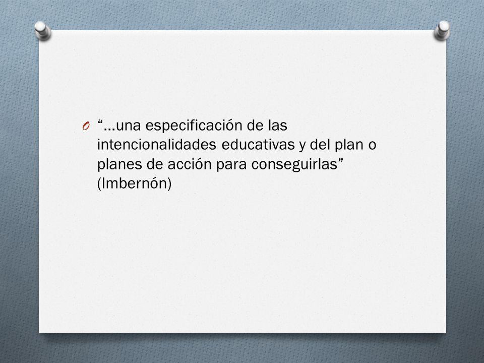 …una especificación de las intencionalidades educativas y del plan o planes de acción para conseguirlas (Imbernón)