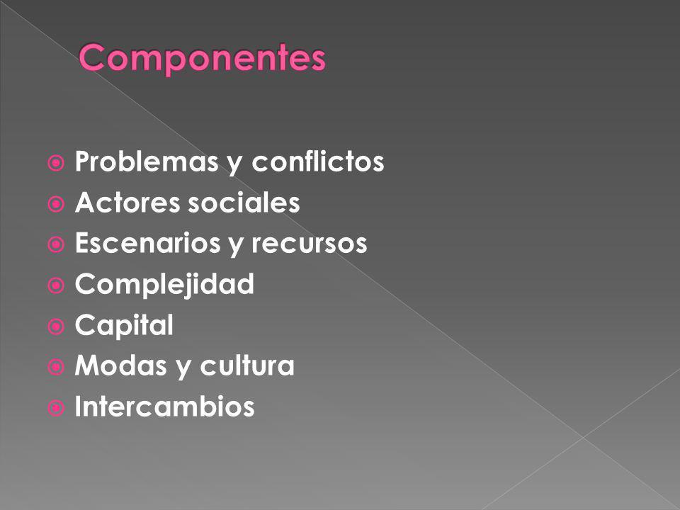 Componentes Problemas y conflictos Actores sociales