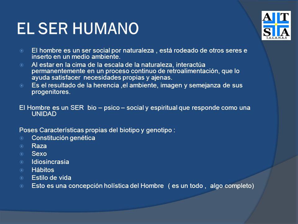 EL SER HUMANO El hombre es un ser social por naturaleza , está rodeado de otros seres e inserto en un medio ambiente.