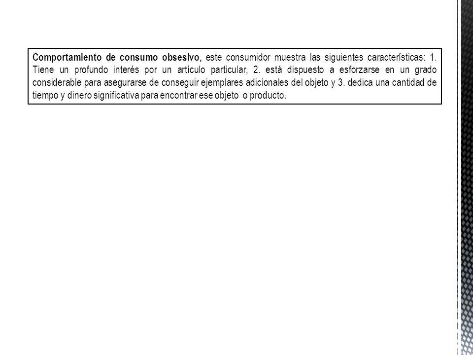 Comportamiento de consumo obsesivo, este consumidor muestra las siguientes características: 1.