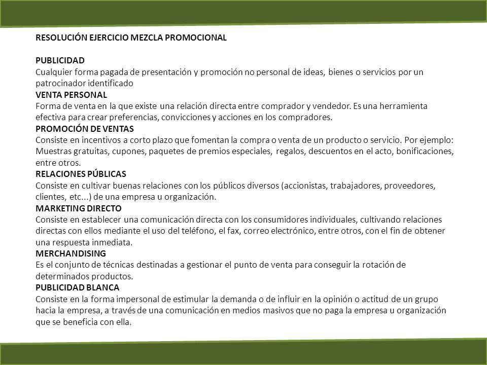 RESOLUCIÓN EJERCICIO MEZCLA PROMOCIONAL