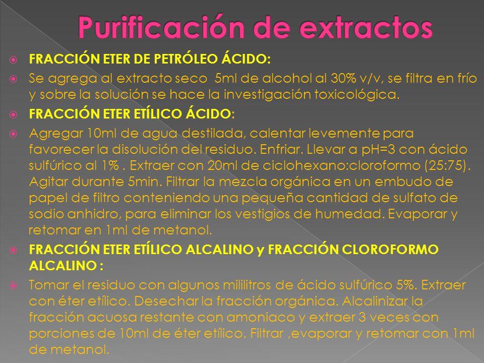 Purificación de extractos
